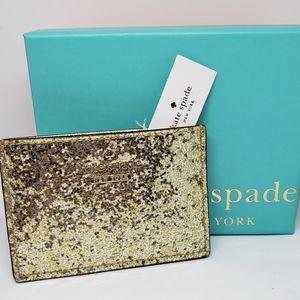 New Kate Spade Card Holder Gold Glitter